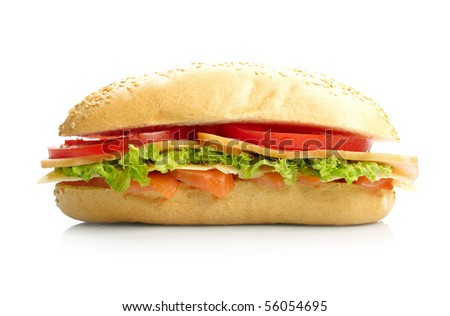Big sandwich on white background - stock photo