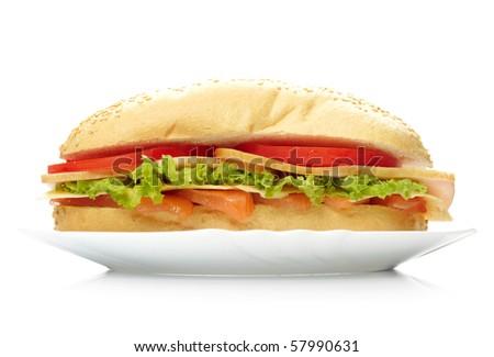 Big sandwich on white plate - stock photo