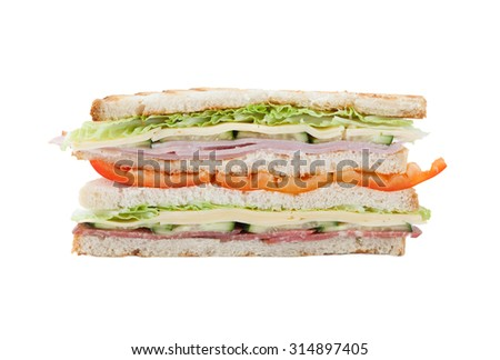 big sandwich with bell pepper, bacon and cheese on a white background