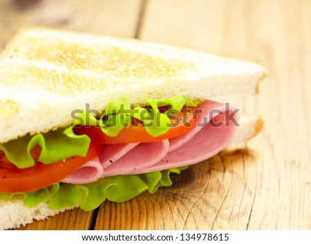 big sandwich with fresh vegetables - stock photo