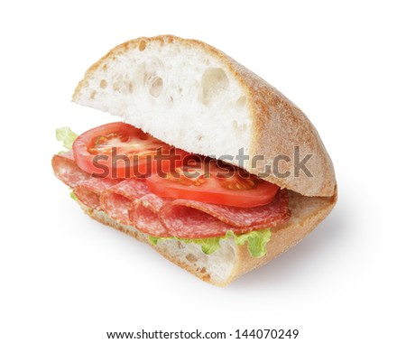 big sandwich with salami cheese and tomato, isolated on white - stock photo