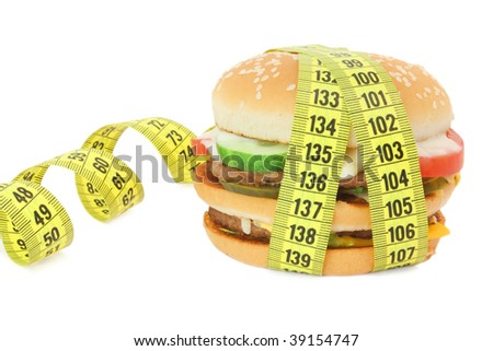 Big sandwich with tape measure - stock photo
