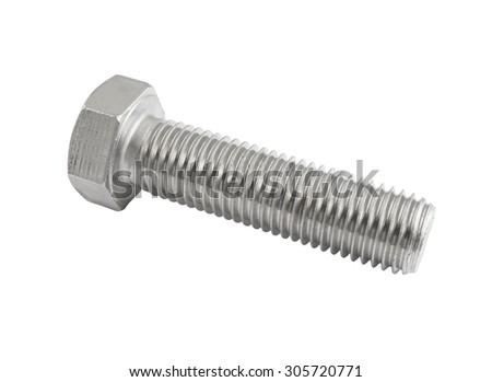 Big screw isolated on white background - stock photo