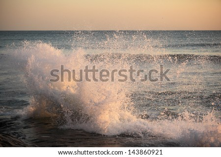 Big sea wave on a windy day - stock photo