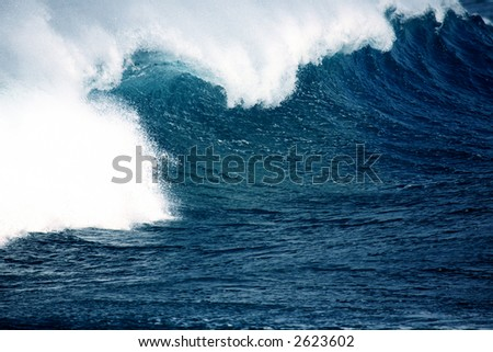 big sea wave on a windy day - good for surfing