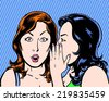 big secret comic pop art illustration of two beauties with blue background - stock