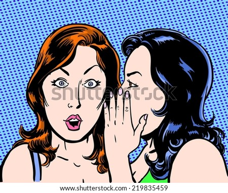 big secret comic pop art illustration of two beauties with blue background