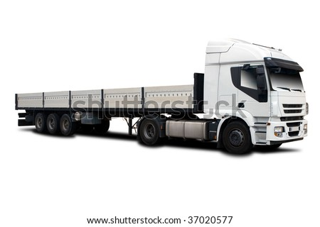 Big Semi Trailer Truck Isolated on White - stock photo