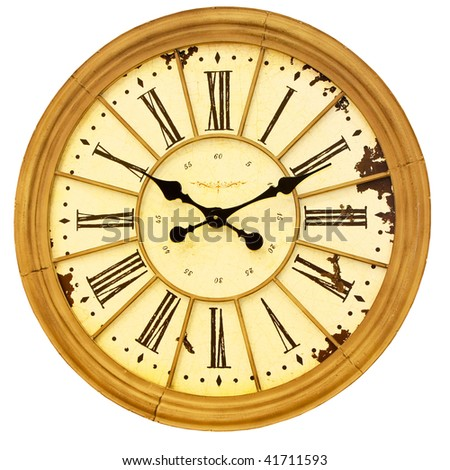 Big sepia clock isolated included clipping path