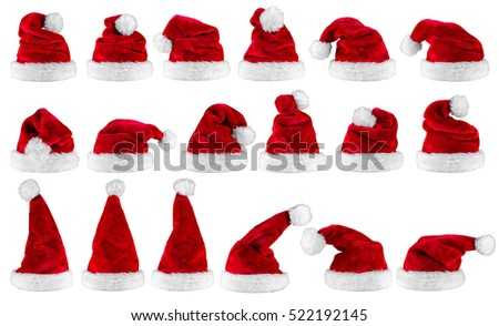 big set collection of red white plush santa claus christmas xmas hat isolated background