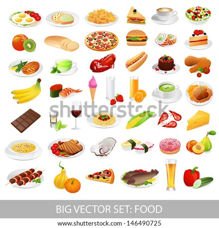 Big set: food icons (various delicious dishes). Traditional cuisine. Main course. Healthy / junk food, seafood, fast food, drinks. Isolated meals illustrations on white background. Vector in Portfolio