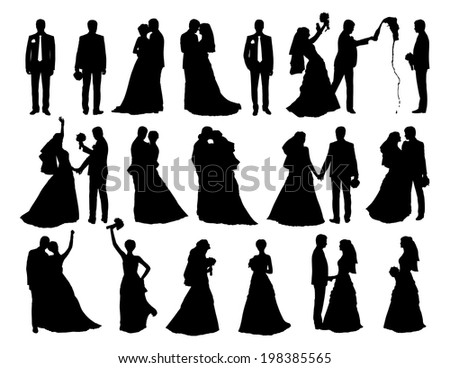 big set of black silhouettes of bride and groom together and alone in different postures - stock photo