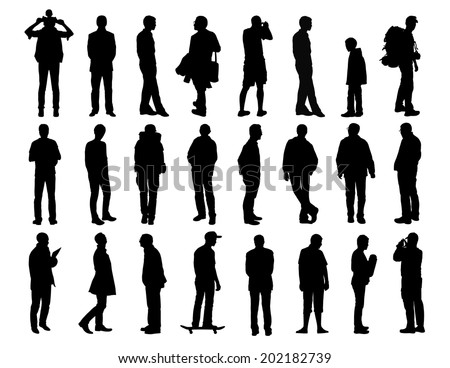 big set of black silhouettes of men of different ages standing in different postures, face, profile and back views