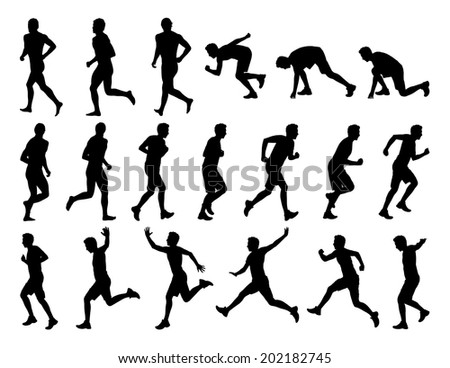 big set of black silhouettes of white men jogging, running and jumping