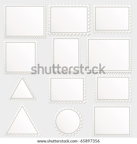 big set of blank postage stamps different geometric shapes. - stock photo