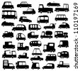 big set of cartoon cars silhouettes for use in design, etc. - stock photo