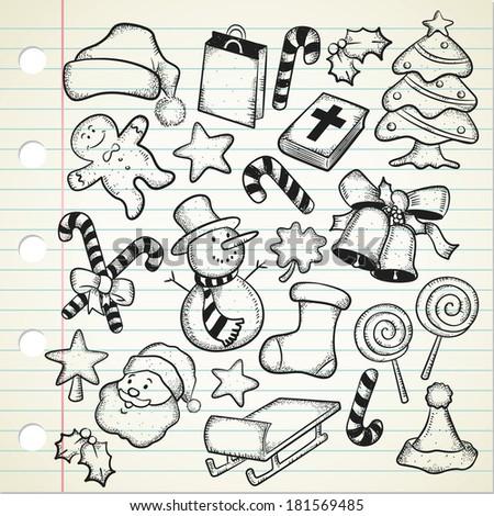 big set of Christmas doodle - stock photo
