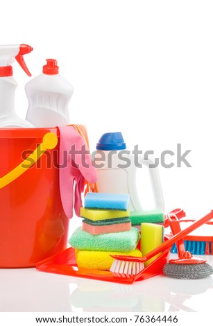 big set of cleaning items with copyspace - stock photo