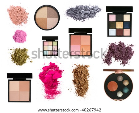 Big set of color eyeshadows and blush palettes and samples isolated on white - stock photo