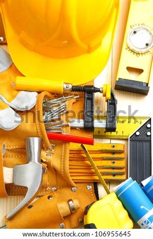 big set of construction tools - stock photo