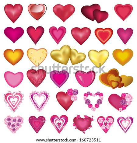 Big set of different colorful hearts for Valentines Day, wedding, birthday, isolated on white background. Raster version - stock photo