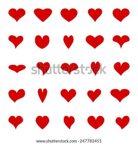 Big set of different isolated red hearts. Elements for your design. - stock photo