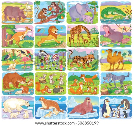 Big Set Of Different Wild Animals Collection Cute African Arctic And Woodland