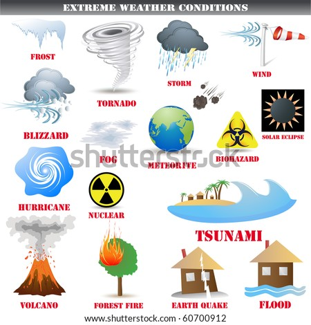 Big Set of Extreme weather conditions - stock photo