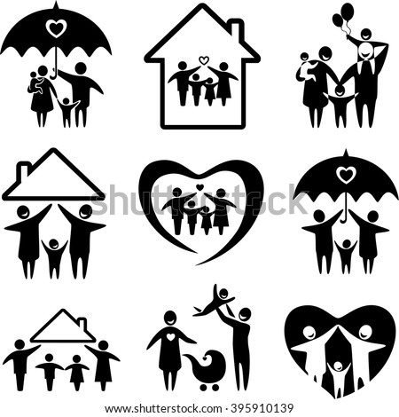 Big set of family icons. Happy family concepts: father, mother, daughter and son together. Family icon set. Family icon illustration. Family icon image. Happy family icons set. Happy family jpeg - stock photo