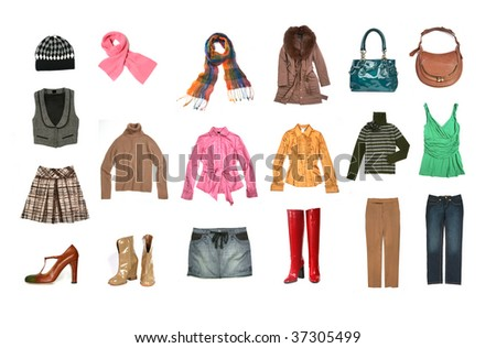 big set of female clothes and accessories - stock photo