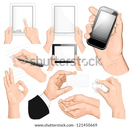 Big set of hands. Rasterized version of vector illustration ID: 113572591 - stock photo