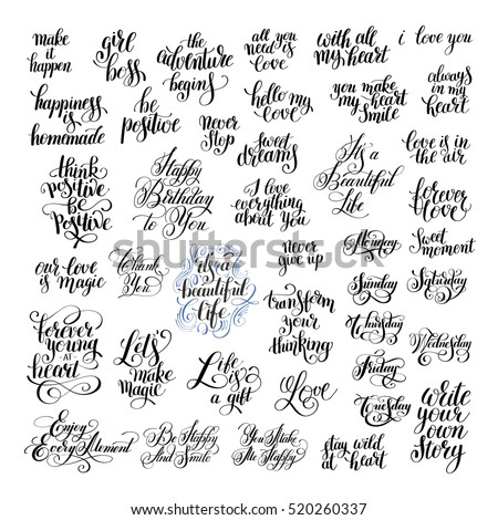 Printable Love Quotes Magnificent Big Set Handwritten Positive Inspirational Quotes Stock