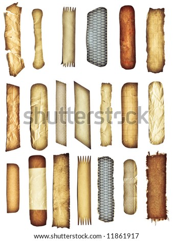 Big set of 20(!) isolated with clipping paths (19 paths) vintage, retro pieces of paper, textile, sticky tape. Use this objects in your design. - stock photo