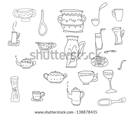 Big set of kitchen tools, sketch in simple black lines - stock photo
