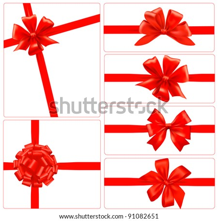 Big set of red gift bows with ribbons. Raster version of vector.