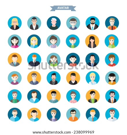 Big set of stylish avatar of male and woman icons in flat design. Woman lovelace MC rapper housewife teenager brutal man emo businessman programmer. Raster version - stock photo
