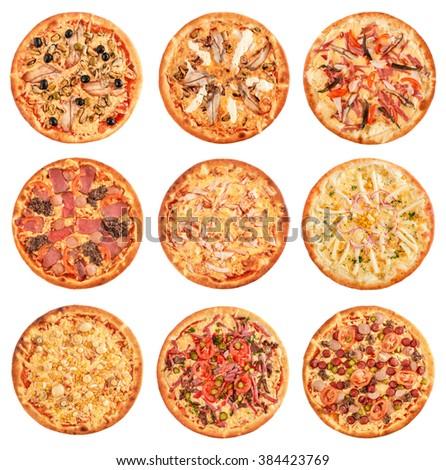 Big set of the best Italian pizzas isolated on white background - stock photo