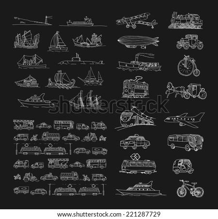 Big set with different transport. Passenger transport. Traffic. Retro transport.  Set with boats. - stock photo