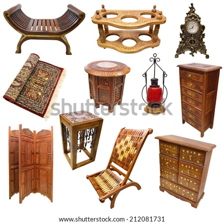 Big set with Indian traditional interior objects and furniture isolated on white - stock photo
