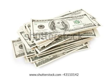 big sheaf of money isolated on white - stock photo