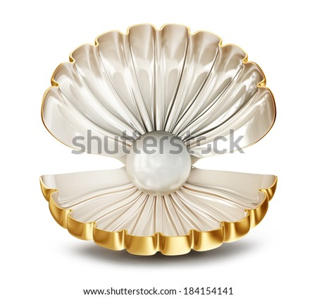 big shell with pearl on a white background - stock photo