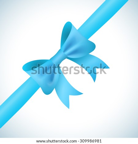 Big shiny blue bow and ribbon on white background.  illustration for your holiday gift design. - stock photo