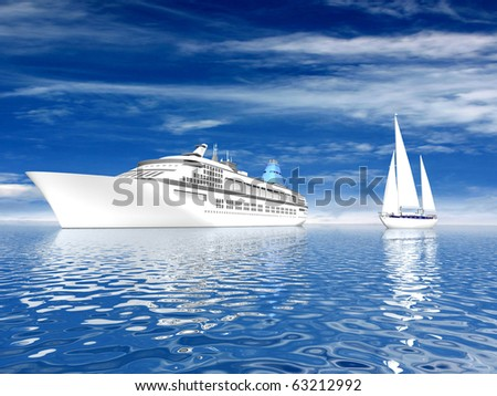 Big ship and sailing luxury yacht on beautiful seascape
