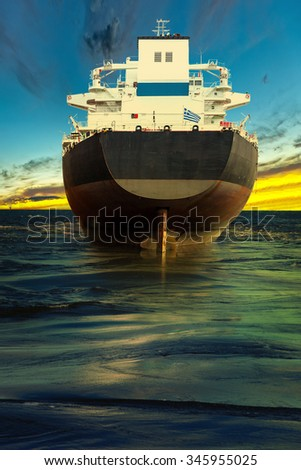 Big ship at sea - view from the stern. - stock photo