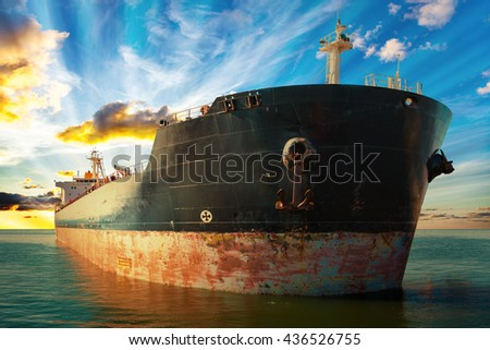 Big ship at sunset - view from the bow. - stock photo