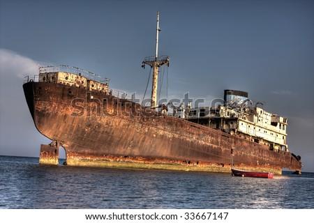big shipwreck - stock photo