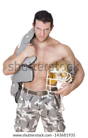 Big shirtless sexy football player with protection and helmet angry looking into the camera isolated on white background. Sport and Fitness concept. - stock photo