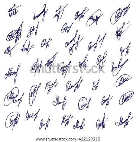 Big Signatures set - group of fictitious contract signatures. Business autograph illustration. - stock photo