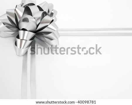 Big silver holiday cockade on white background