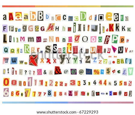 Big size clipping alphabet (cutout from newspapers and magazines) with letters, numbers and symbols, isolated on white background - stock photo